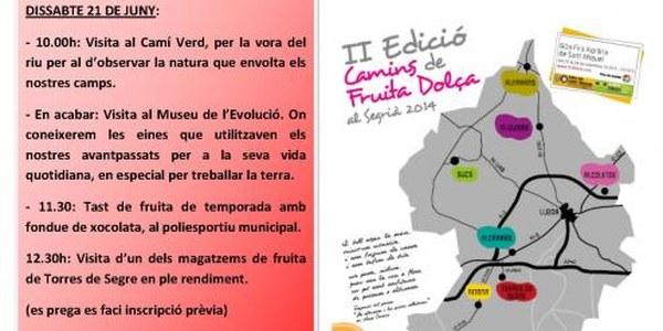 EL PROPER DISSABTE 21 DE JUNY TINDRÀ LLOC LA 2A EDICIÓ DELS CAMINS DE FRUITA DOLÇA A TORRES DE SEGRE