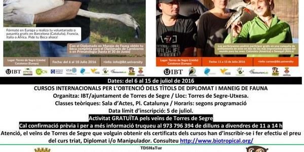 CURS INTERNACIONAL DE DIPLOMAT EN MANEIG DE FAUNA A TORRES DE SEGRE Del 6 al 15 de juliol