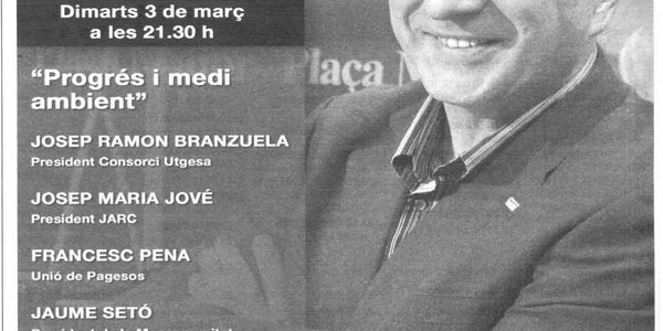 DIMARTS 03/03/09 A LES 21.30H L'ALCALDE DE TORRES DE SEGRE SORTIRÀ AL PROGRAMA PLAÇA MAJOR DE LA MANYANA TV A LES 21.30H COM A PRESIDENT DEL CONSORCI D'UTXESA